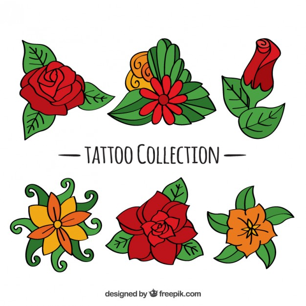Set Of Hand Drawn Floral Tattoos