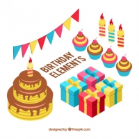 Isometric Collection Of Items Birthday