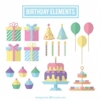 Collection Of Birthday Elements In Pastel Color