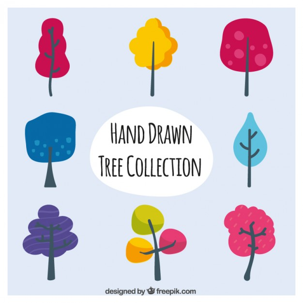 Pack Of Hand Drawn Colorful Trees