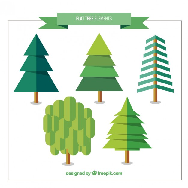Pack Of Pines And Trees In Flat Design