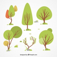Et Of Differents Hand Drawn Trees