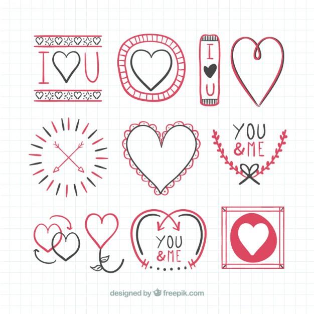 Love Hand Drawn Badges