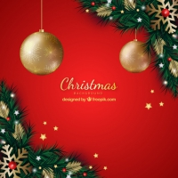 Red Background Wth Christmas Decoration