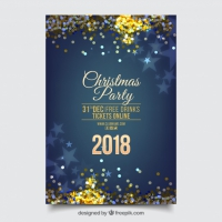 Blue Glittery New Year Party Poster