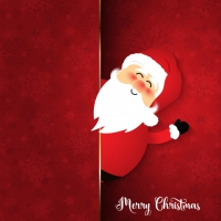 Cute Santa On Snowflake Background