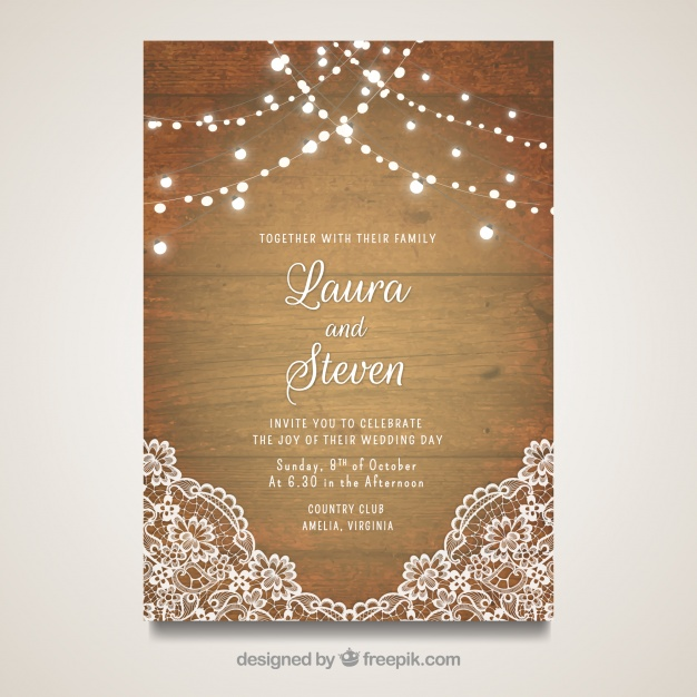 Elegant Wedding Card With Wooden Design