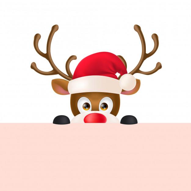 Reindeer in Santa Hat Peeping Out