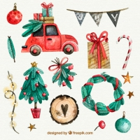 Christmas Watercolor Elements Set