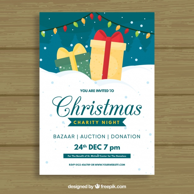 Flat Poster For A Christmas Party