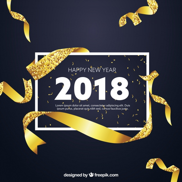 Golden New Year Background With Realistic Style
