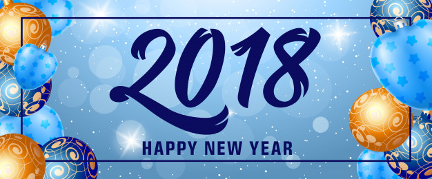 Happy New Year 2018 Lettering in Frame