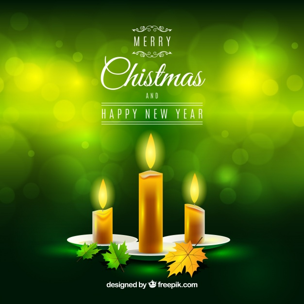 Green Christmas Background With Realistic Candles