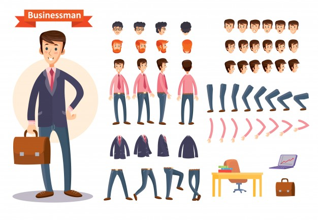 Set Of Vector Cartoon Illustrations For Creating A Character, Businessman