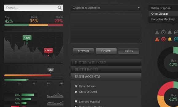 Dark Chart PSD UI Kit