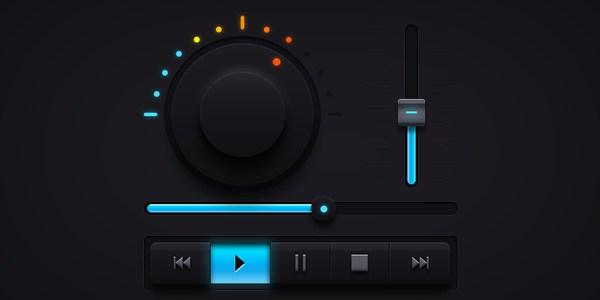 Dark Music UI Elements