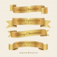 Golden Elegant Christmas Ribbons