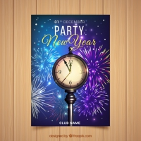 New Year's Party Poster With A Realistic Clock