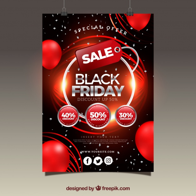 Glossy Abstract Brochure Of Black Friday