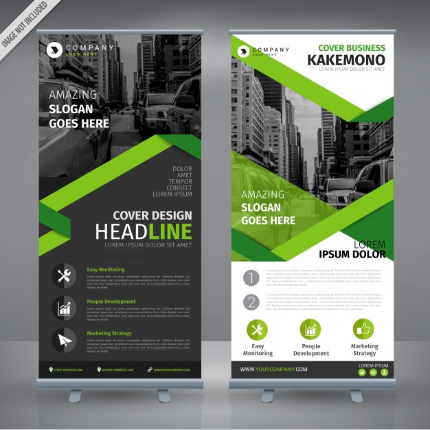 Grey And Green Double Roll Up Design