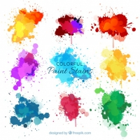 Nine Watercolor Splashes