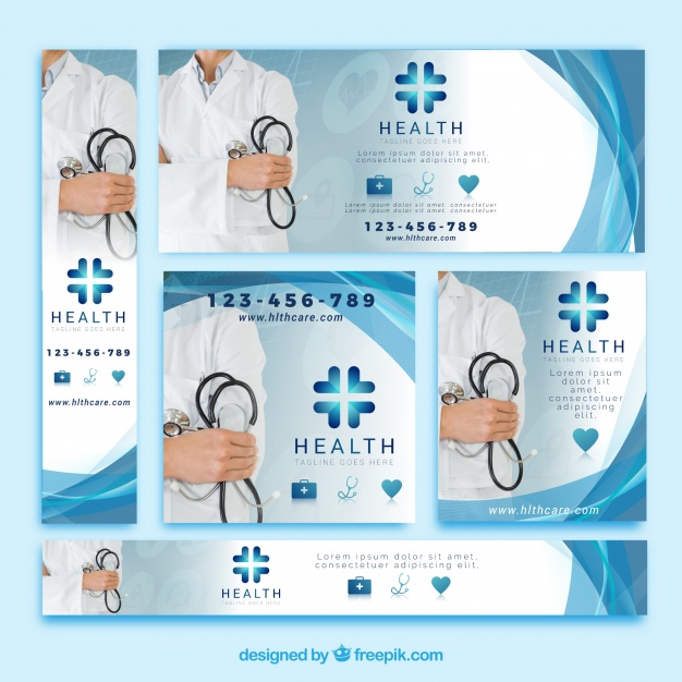 Health Banners With Doctor