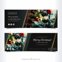 Elegant Merry Christmas Banners
