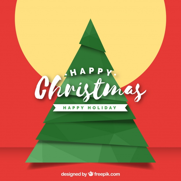 Happy Christmas Background With A Geometrical Tree