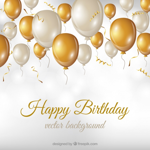 Birthday Background With White And Golden Balloons