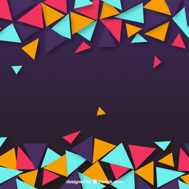 Purple Background Of Colorful Triangles