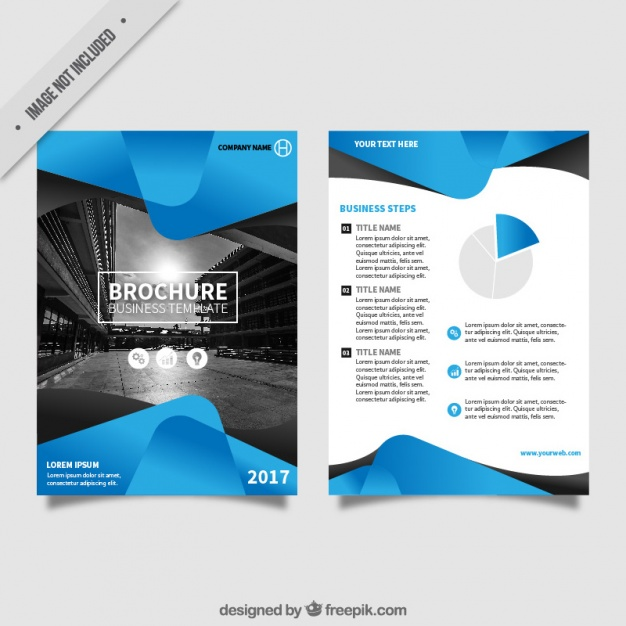 Flyer Template With Blue Abstract Forms
