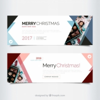 Abstract Merry Christmas Banners